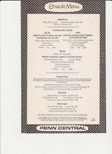 Penn Central Snack Menu 1970