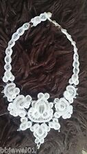 Handmade soutache necklace and earrings with swarovski crystals, wedding (white)