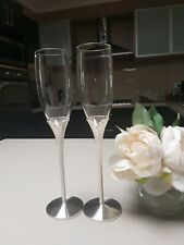 Wedding Toasting Champagne Glasses Silver Plated Tulip Diamante Crystal Flutes