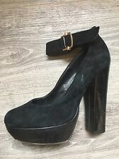 French Connection Black Suede Court Shoes Platform Gold Strap High 5 38 leather