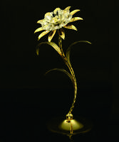 """24K Gold plated Swarovski Crystal Element 8"""" Tall Sunflower Table Top Display"""