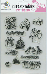 NEW Clear Acrylic Craft Stamp Set Party Time.