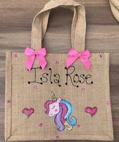 Personalised Glitter Unicorn Jute Bag Birthday Easter Christmas Gift