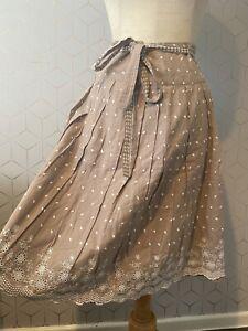 NEXT Caramel Beige Spot Broderie Anglaise Circle Skirt UK Size 10