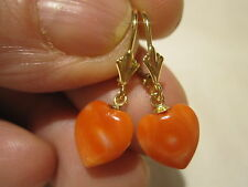 BEAUTIFUL VINTAGE 14K GOLD GENUINE RED SALMON CORAL LEVER-BACK EARRINGS ESTATE