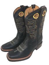 Rodeio Masculino Couro Genuíno botas de cowboy western Square dedo do pé Botas vaqueras