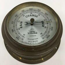 "Viking Barometer 4"" Glass Brass Case 6-13/16"" Base Vintage Iver Weilbach &Co B34"