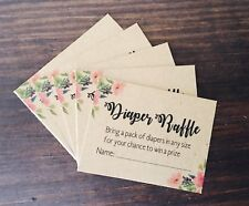 Floral Baby Shower Game Diaper Raffle Ticket Invitation Insert (25 count)