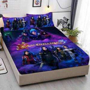 Descendants 3 Fitted Sheet 3PCS Bed Sheet Pillowcases Mattress Cover Bedding Set