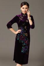 New purple chinese women's embroidery Evening velvet Dress Ball CheongsamS-2XL