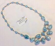 Amazing huge  handcrafted AAA Larimar  Necklace 925 silver  #  C
