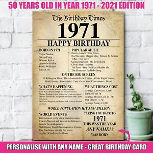 1971 50th Personalised Happy Birthday Greeting Card Memories Year Of Birth -140