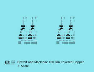 K4 Z Decals Detroit and Mackinac 100 Ton Covered Hopper Black