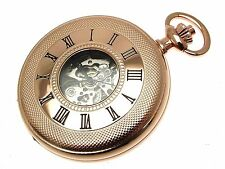 Rose Gold Half Hunter Plated Pocket Watch Skeleton 1099992