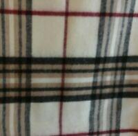 Soft Winter Scarf Unisex Muffler w/Fringe Plaid Cream Taupe Black Dillards 68x11