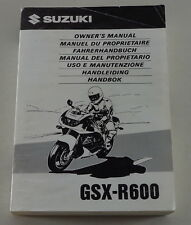 Mode d'emploi/Owner's Manual/handbob SUZUKI gsx-r600 de 11/1997