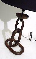 XL ART MODERNE IRON CHAIN LINK BRUTALIST TABLE LAMP MID CENTURY VINTAGE