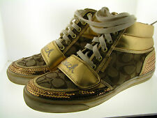 Ladies Coach Gold Leather & Sequence Canvas Monogram Semi High Top Sneakers 9
