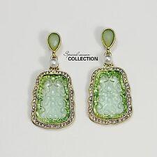 Boucles d`Oreilles Clips Doré Pendant Imi Jade Vert Vintage Class Original J1