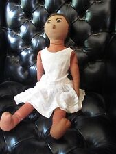 Vintage Hand Sewn Rag Doll Wearing Period Dress. Cotton and Felt.