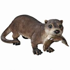 River Otter with Catch of the Day Garden Pond Pool Sculpture