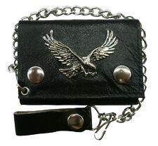 """Men Biker-Trucker Chain Wallet Genuine Leather Black """"Eagle """"Tri Fold"""