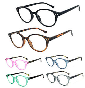 Retro Round Keyhole Reading Glasses Silver Rivet Spring Hinge Temples
