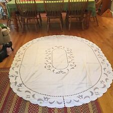 """Mr. Tablecloth White On White Cutwork Tablecloth Oval 72"""" X 90"""" NEW"""