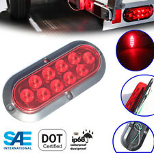 """6"""" Red Oval Oblong SURFACE MOUNT LED Stop Turn Tail Light Trailer Truck RV"""