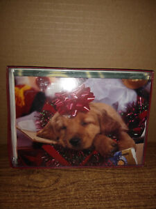 New Leanin' Tree 10 Boxed Christmas Cards with Sleeping Puppy