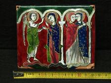PLAQUE RELIGIEUSE CUIVRE EMAILLEE 18 ème SAINT - ANGE RELIGIOUS ENAMEL PLAQUE