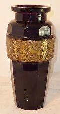 Moser Amethyst Vase Classical Warrior Scene Art Glass Signed Gilt Frieze Purple