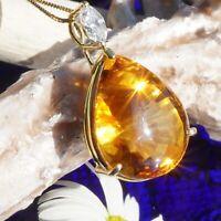 Diamantnavette Citrin Anhaenger 21 ct 0.32 ct 750er Gold SUNSHINE