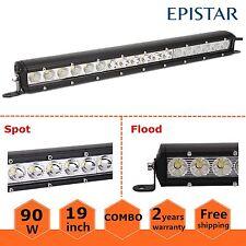19inch 90W LED Single Row Work Light Bar Flood Spot Combo Offroad Truck Lamp US