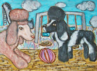 Poodle on Playground Original 9 x 12 Painting Artist KSams Dog Art Vintage Style