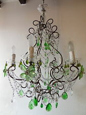 ~c 1920 French Green Murano Drops Crystal Prisms & Flowers Chandelier Gorgeous~