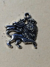 Antique Silver Plate Rasta Lion Of Judah Pendant Bead 27mm x 25mm 1 pc
