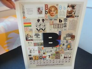 """PETER BLAKE Alphabet Book Plate LETTER """"B"""" Classic POP ART Collage to FRAME Fab!"""