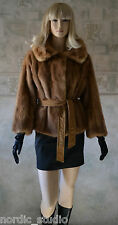 Genuine Pastel MINK Fur Cropped JACKET Light Brown size S/M Swing Stroller Opera