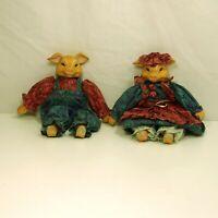 "A Pair of Piggy Ceramic Dolls Boy & Girl 9"" tall"