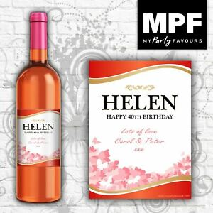 Personalised Birthday Wine Bottle Label - Red/Rose - Any Name, Age or Occasion