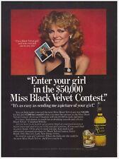 Original 1978 Black Velvet Whiskey- I'm a Black Velvet Girl Vintage Print Ad