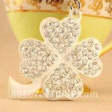 White Lucky Four Leaf Clover Keychain Crystal Charm Purse Key Chain Gift 01203