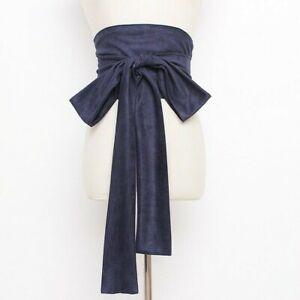 Women Faux Suede Belt Corset Bow Wide Japanese Obi Kimono Yukata Waistband