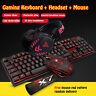 Gaming Backligh Tastatur und Maus Set W/Headset USB Optisch Kabelgebunden PC