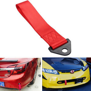"""10.8"""" Heavy Duty Car Front Rear Bumper Hook High Strength Nylon Towing Strap Red"""