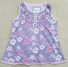NEXT Kids Girls Purple Violet Flowered Tunic Vest Top 100% Cotton 7 Years