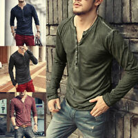 Mens Casual Long Sleeve Cotton Loose Blouse Henley V-Neck Button Tops T-Shirts
