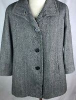Cinzia Rocca Coat Black Plaid Houndstooth 12 Baby Alpaca Wool Silk Made Italy