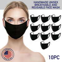 Face Mask Black Reusable 10 Pack Cover Cotton Double Layer Washable Protection
